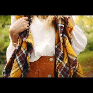 Zara 70's color plaid scarf blogger
